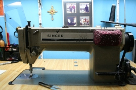 Sister Pat N Leather's sewing machine in her home office. Photo by Kevin Skahan.